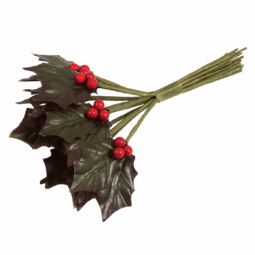 Holly Leaves and Berries Double 6 Bunches of 12 Stems